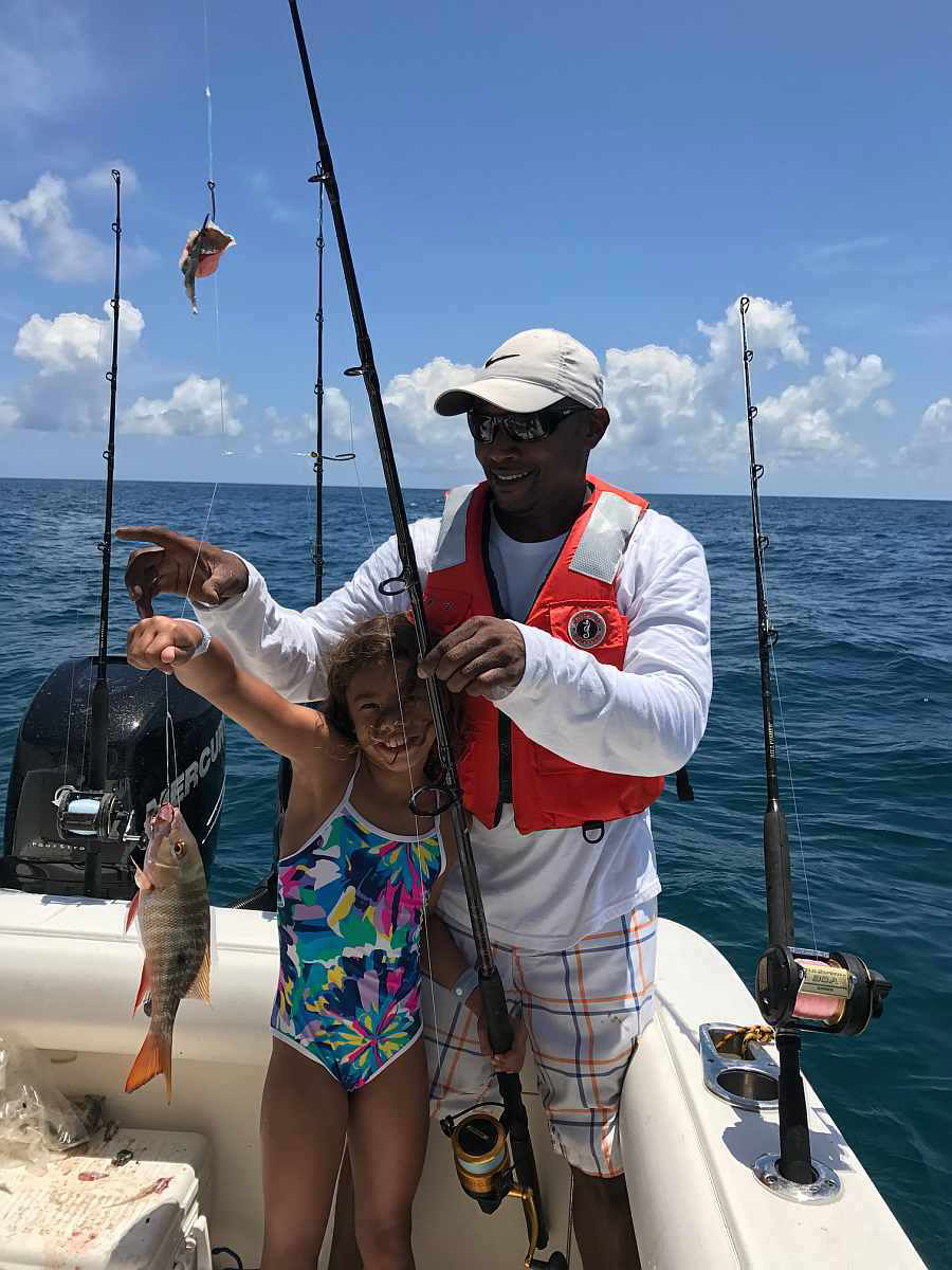 Marley's first fish - a mutton snapper