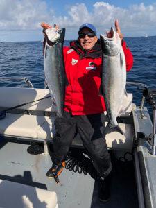 Captain Gary Lachman with 2 Coho Salmon 16 lb. and 18 lb.